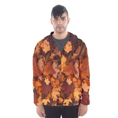 Fall Foliage Autumn Leaves October Hooded Wind Breaker (men)