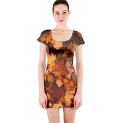 Fall Foliage Autumn Leaves October Short Sleeve Bodycon Dress