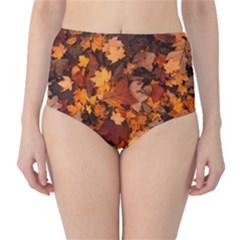 Fall Foliage Autumn Leaves October High Waist Bikini Bottoms