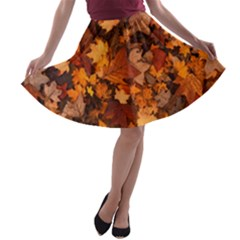 Fall Foliage Autumn Leaves October A Line Skater Skirt