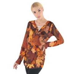 Fall Foliage Autumn Leaves October Tie Up Tee