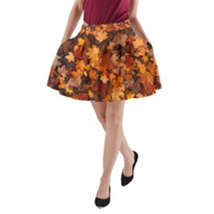 Fall Foliage Autumn Leaves October A Line Pocket Skirt