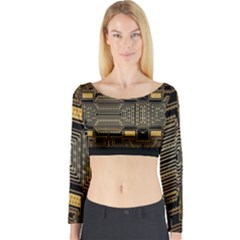 Board Digitization Circuits Long Sleeve Crop Top