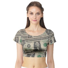 Dollar Currency Money Us Dollar Short Sleeve Crop Top (tight Fit)