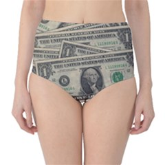 Dollar Currency Money Us Dollar High Waist Bikini Bottoms
