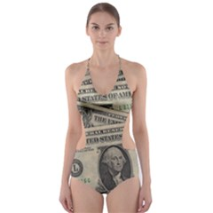Dollar Currency Money Us Dollar Cut Out One Piece Swimsuit