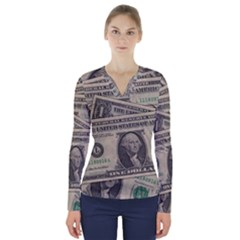 Dollar Currency Money Us Dollar V Neck Long Sleeve Top