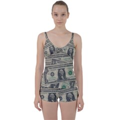 Dollar Currency Money Us Dollar Tie Front Two Piece Tankini