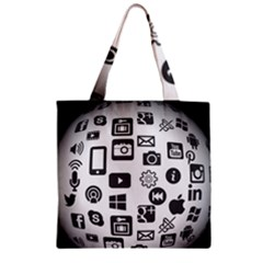Icon Ball Logo Google Networking Zipper Grocery Tote Bag