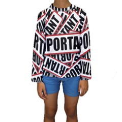 Important Stamp Imprint Kids  Long Sleeve Swimwear