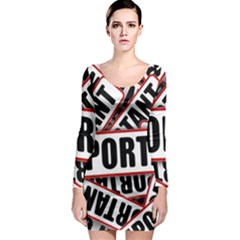Important Stamp Imprint Long Sleeve Bodycon Dress