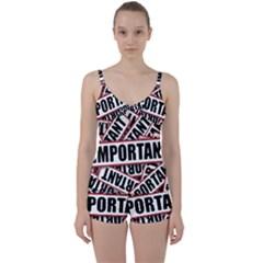 Important Stamp Imprint Tie Front Two Piece Tankini