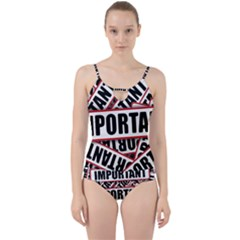 Important Stamp Imprint Cut Out Top Tankini Set