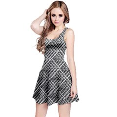 Grid Wire Mesh Stainless Rods Reversible Sleeveless Dress