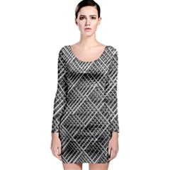 Grid Wire Mesh Stainless Rods Long Sleeve Bodycon Dress