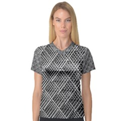Grid Wire Mesh Stainless Rods V Neck Sport Mesh Tee