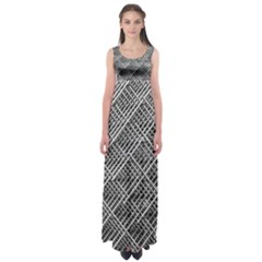 Grid Wire Mesh Stainless Rods Empire Waist Maxi Dress