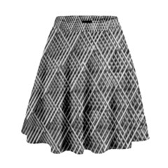 Grid Wire Mesh Stainless Rods High Waist Skirt