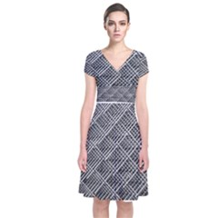 Grid Wire Mesh Stainless Rods Short Sleeve Front Wrap Dress