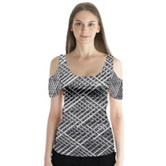 Grid Wire Mesh Stainless Rods Butterfly Sleeve Cutout Tee