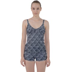 Grid Wire Mesh Stainless Rods Tie Front Two Piece Tankini
