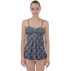 Grid Wire Mesh Stainless Rods Babydoll Tankini Set
