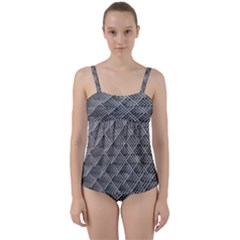 Grid Wire Mesh Stainless Rods Twist Front Tankini Set
