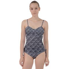 Grid Wire Mesh Stainless Rods Sweetheart Tankini Set