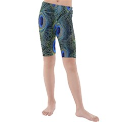 Peacock Feathers Blue Bird Nature Kids  Mid Length Swim Shorts