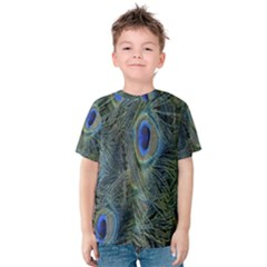 Peacock Feathers Blue Bird Nature Kids  Cotton Tee