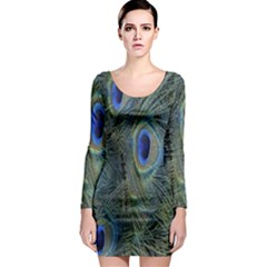 Peacock Feathers Blue Bird Nature Long Sleeve Bodycon Dress