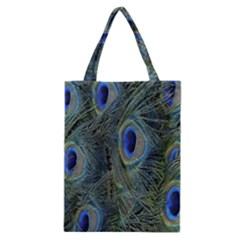 Peacock Feathers Blue Bird Nature Classic Tote Bag