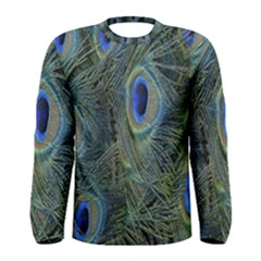 Peacock Feathers Blue Bird Nature Men s Long Sleeve Tee