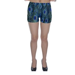 Peacock Feathers Blue Bird Nature Skinny Shorts