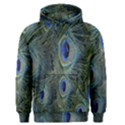 Peacock Feathers Blue Bird Nature Men s Pullover Hoodie View1