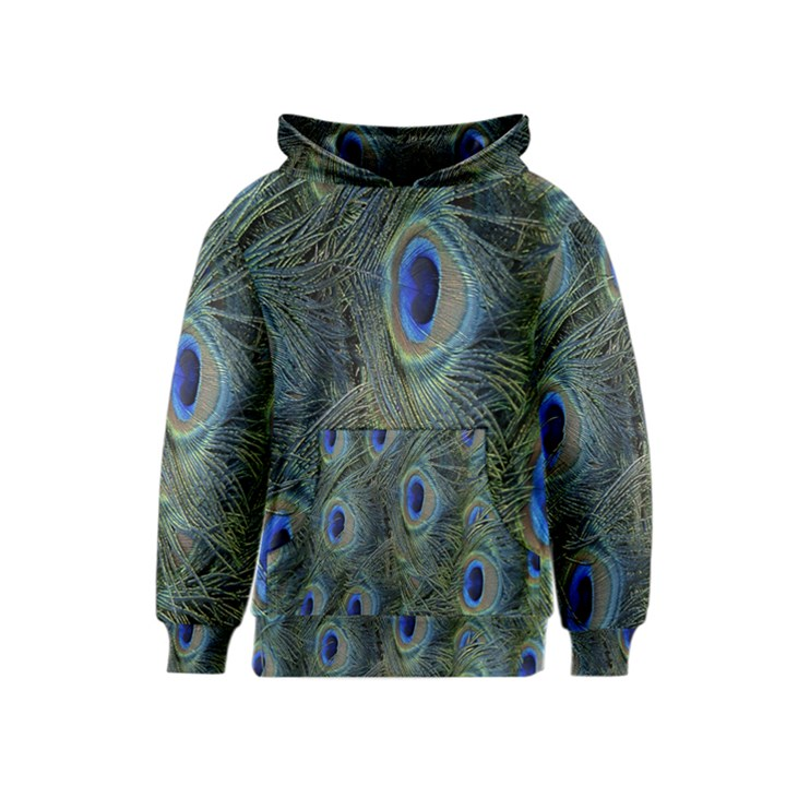 Peacock Feathers Blue Bird Nature Kids  Pullover Hoodie