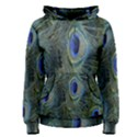 Peacock Feathers Blue Bird Nature Women s Pullover Hoodie View1