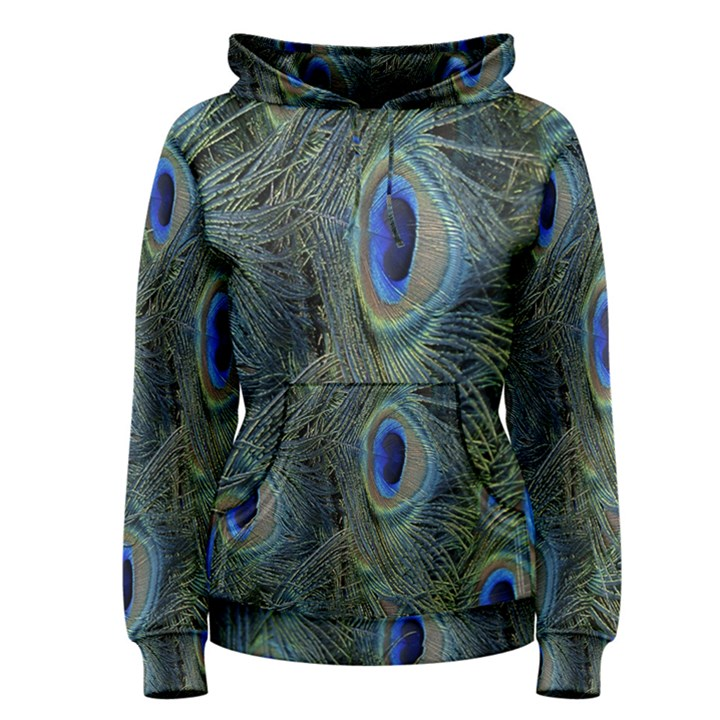 Peacock Feathers Blue Bird Nature Women s Pullover Hoodie