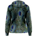 Peacock Feathers Blue Bird Nature Women s Pullover Hoodie View2