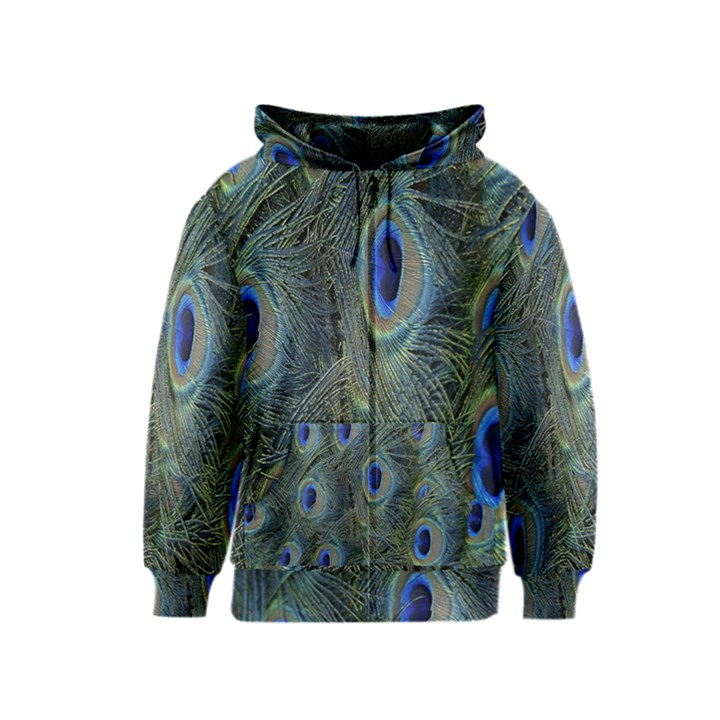 Peacock Feathers Blue Bird Nature Kids  Zipper Hoodie