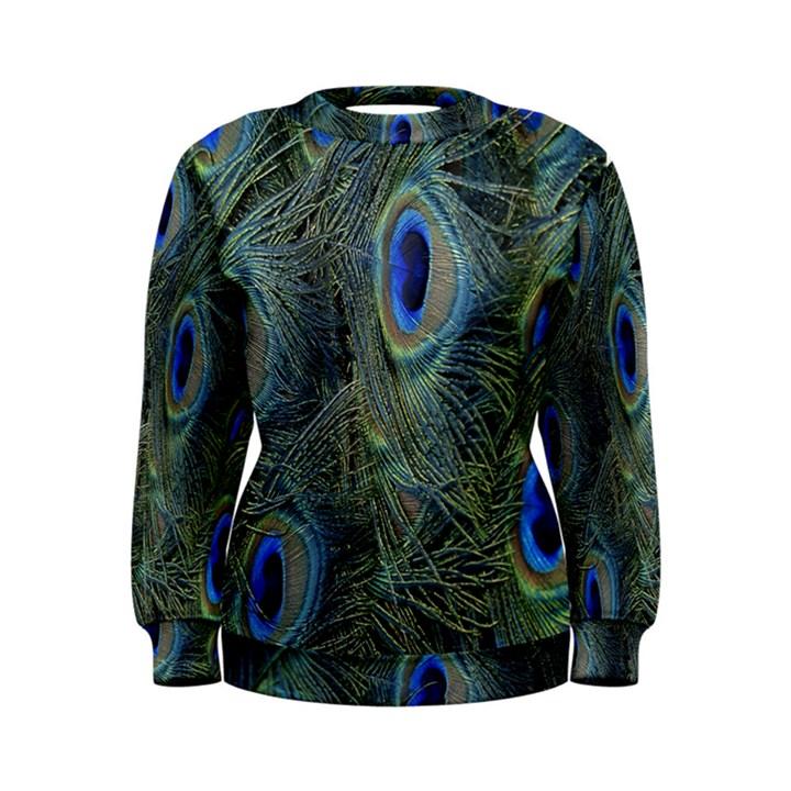 Peacock Feathers Blue Bird Nature Women s Sweatshirt