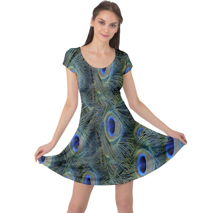 Peacock Feathers Blue Bird Nature Cap Sleeve Dress