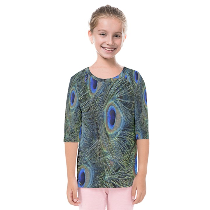 Peacock Feathers Blue Bird Nature Kids  Quarter Sleeve Raglan Tee
