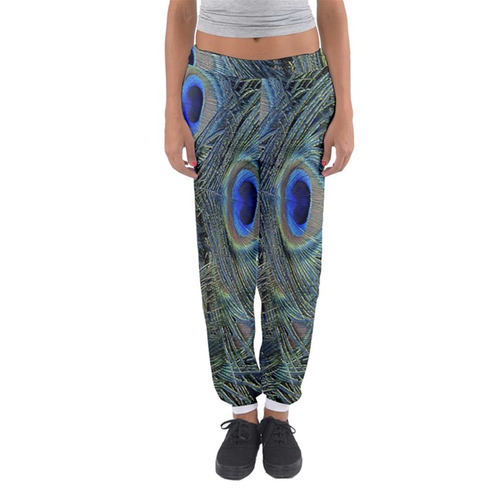 Peacock Feathers Blue Bird Nature Women s Jogger Sweatpants