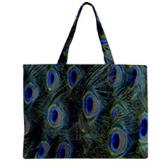 Peacock Feathers Blue Bird Nature Zipper Mini Tote Bag