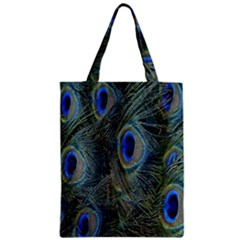 Peacock Feathers Blue Bird Nature Zipper Classic Tote Bag