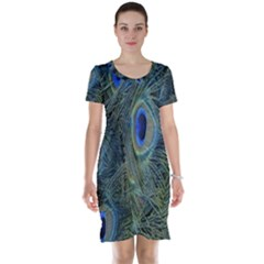 Peacock Feathers Blue Bird Nature Short Sleeve Nightdress