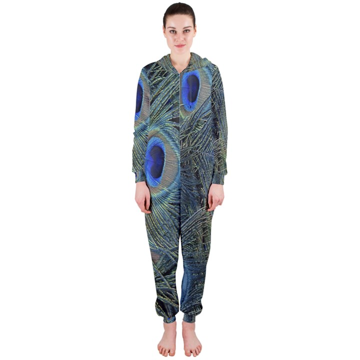 Peacock Feathers Blue Bird Nature Hooded Jumpsuit (Ladies)