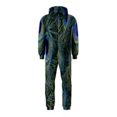 Peacock Feathers Blue Bird Nature Hooded Jumpsuit (kids)