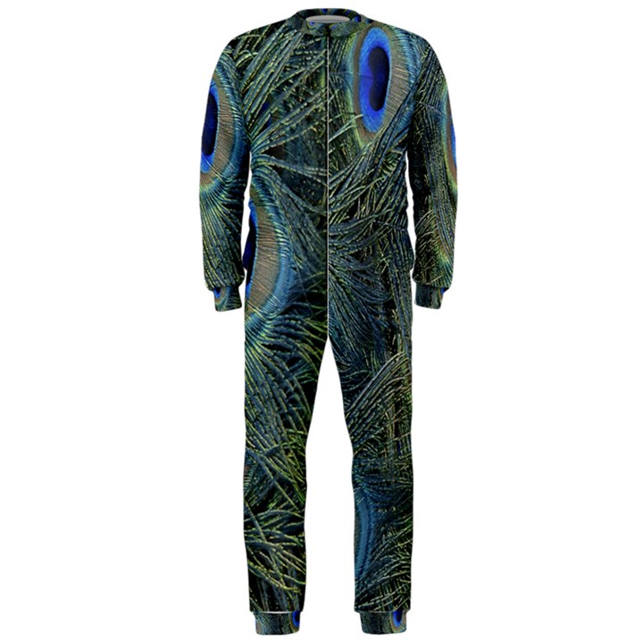 Peacock Feathers Blue Bird Nature OnePiece Jumpsuit (Men)